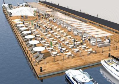 Floating event platform, 3D design by Marina Housing