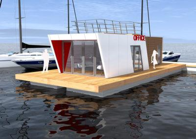 Floating Marina Office, 3D design by Timo Urala, Marina Housing