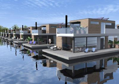 Floating homes, 3D design by Timo Urala, Marina Housing