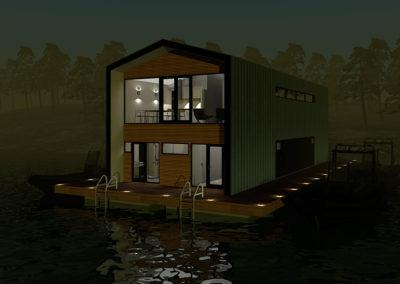 Floating marina office, 3D design by Marina Housing