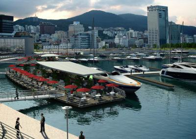 Floating waterfront restaurant